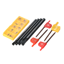 10pcs/box CCMT060204-HM Carbide Inserts + 4pcs Wrench CNC Lathe Turning Tool + 6/7/8/10mm SCLCR06 Holder Boring Bar