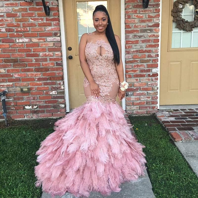 Sexy See Through Beaded Scoop Neck Pink Prom Dresses Mermaid