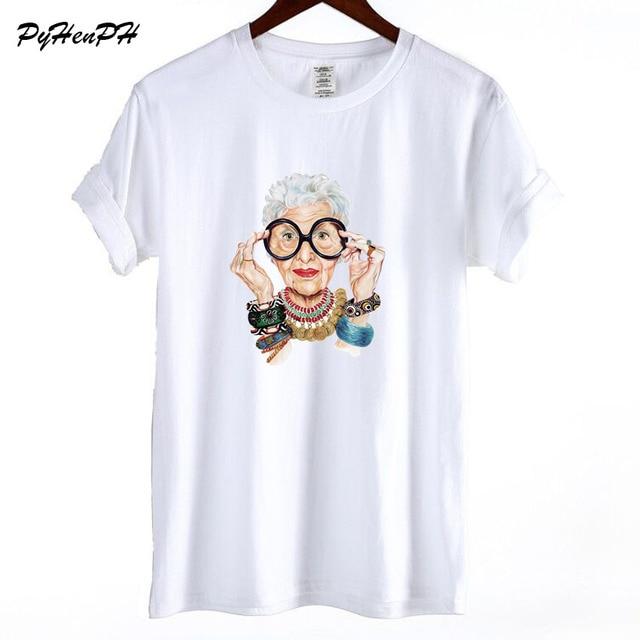 New 2018 Summer  Tumblr Fashion Old Women Print T Shirt Women Cotton O-neck Short Sleeve  Tops For Women Kawaii Tshirt 1