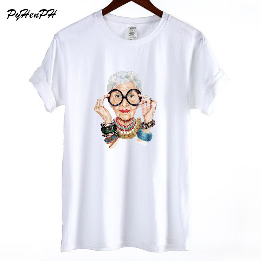 New 2018 Summer Tumblr Fashion Old Women Print T Shirt Women Cotton O neck Short Sleeve