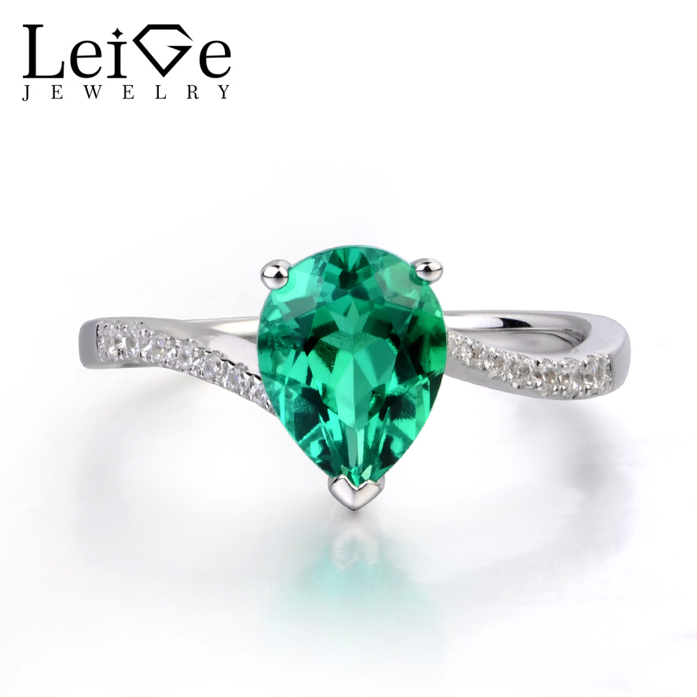Leige Jewelry Emerald Engagement Rings for Women Pear Shaped Ring Sterling Silver 925 Fine Jewelry Green Gemstone May Birthstone leige jewelry pear shaped engagement rings for women lab alexandrite promise ring sterling silver 925 fine jewelry pear gemstone