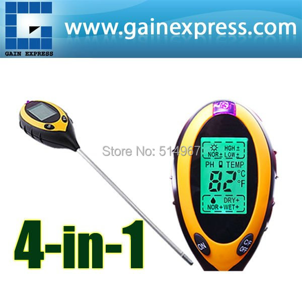 4 in 1 Digital pH Meter measure Soil PH/ Temperature / Moisture / Sunlight Tester with Backlight  цены