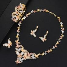SisCathy 4PCS Cubic Zircon Butterfly Jewelry Sets For Women Necklace/Bracelet/Earrings/Ring Wedding Bridal Jewelry Sets