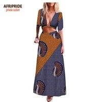 2018 summer african 2 pieces skirt set for women AFRIPRIDE half sleeve crop top+ankle length skirt casual women set A1826022