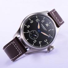 42mm black dial watch men sapphire crystal leather strap automatic men Wrist watch