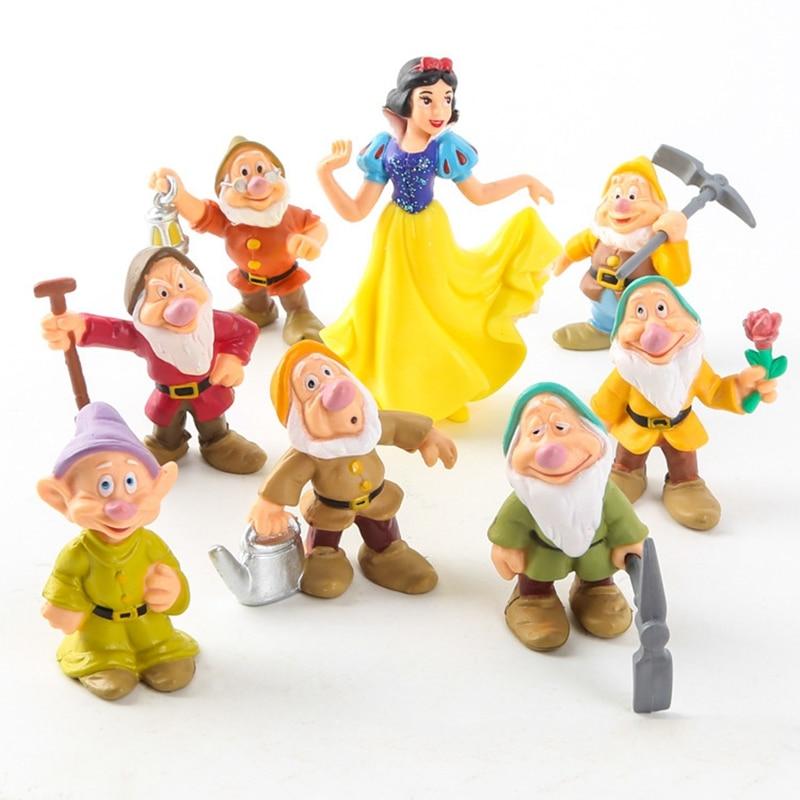 5-9cm 8 pcs Snow White and the Seven Dwarfs Figures Loose Toys Cake Topper Go GS
