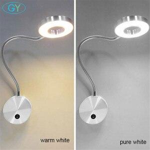 Image 3 - 아트 디자인 현대 5W LED 벽 빛 블랙 실버 침대 옆 독서 램프 스위치 또는 스위치 없음 호텔 주방 침실 벽 램프