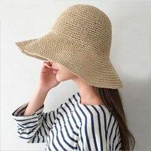 Women Summer Straw Hat Vintage Handmade Crochet Straw Braid Straw Hat Summer Sun-shading Hat Female Fisherman Hat