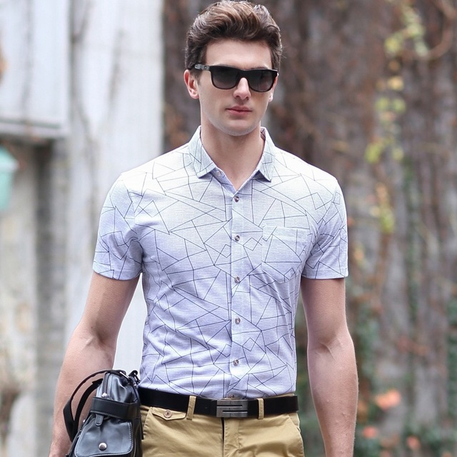 Buy Dress Shirt Men Short Sleeve Top