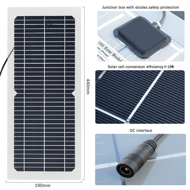 Kit de panel solar BOGUANG 18V 10w, célula solar monocristalina semiflexible transparente, módulo DIY, conector para exteriores, cargador DC 12v