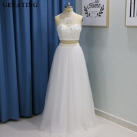 2K18 High Neck Beaded Crystal White Two Pieces Prom Dresses Pearls Crop Top Long Graduation Dress Girls Party Evening Gowns