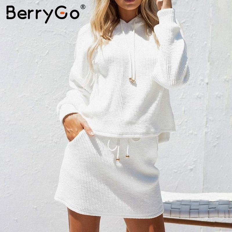 BerryGo Two piece lace up casual suit dress women Cotton white autumn winter hooded sweatshirt dress Oversized Knitted dress
