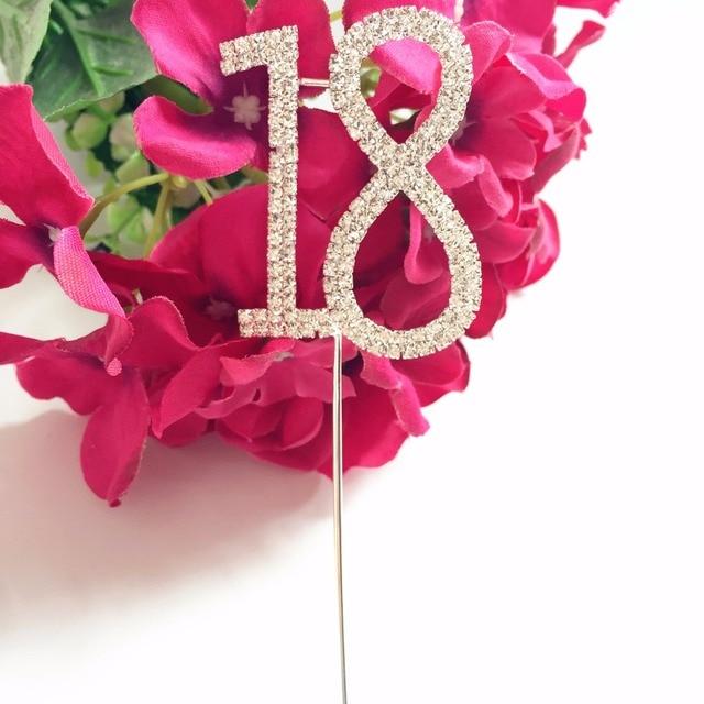 Happy 18th Birthday Party Decoration Kits Number 18 Crystal Diamond Rhinestone Bling 5 Cm Cake Topper