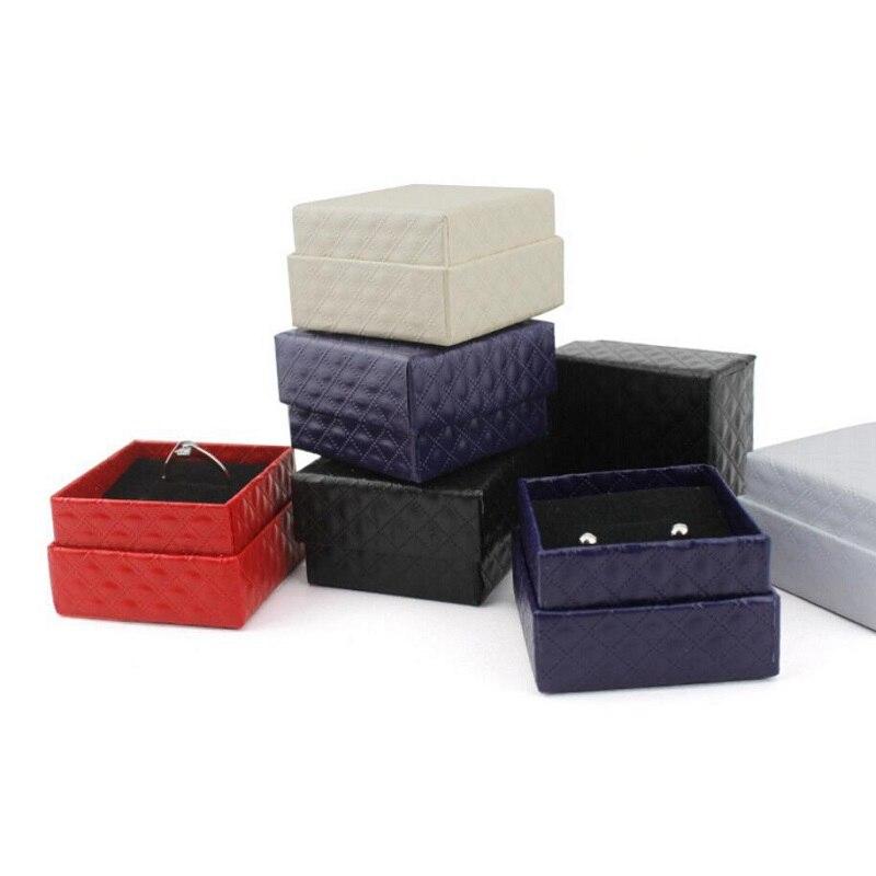 Jewery Organizer Box Rings/Earrings Storage Small Gift Box DIY craft Display Case Package Wedding/etc Sponge Diamond Patternn wh