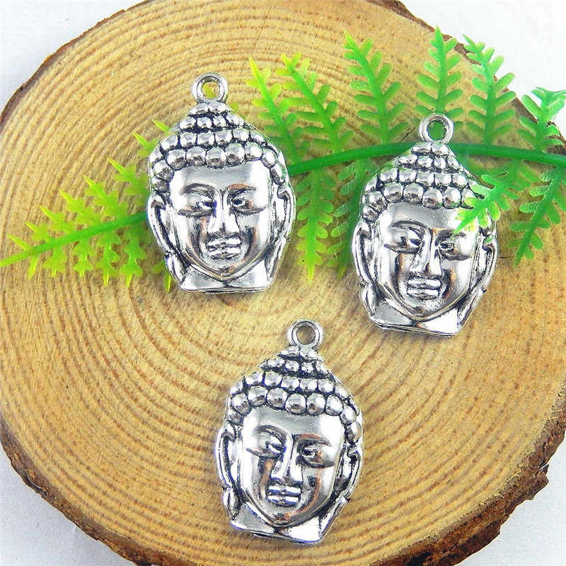 GraceAngie 10PCSTopAlloy Silver Religious Buddha Head Pendant Charms Jewelry Accessory Crafts  51192