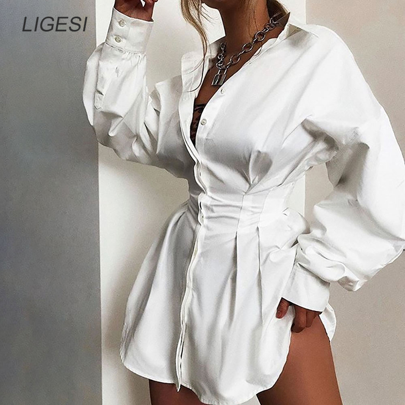Sexy V Neck White Tunic Dress Pleated Summer Women Long Sleeve Shirt Dress Female Ruffle Party Mini Dresses Elegant in Dresses from Women 39 s Clothing