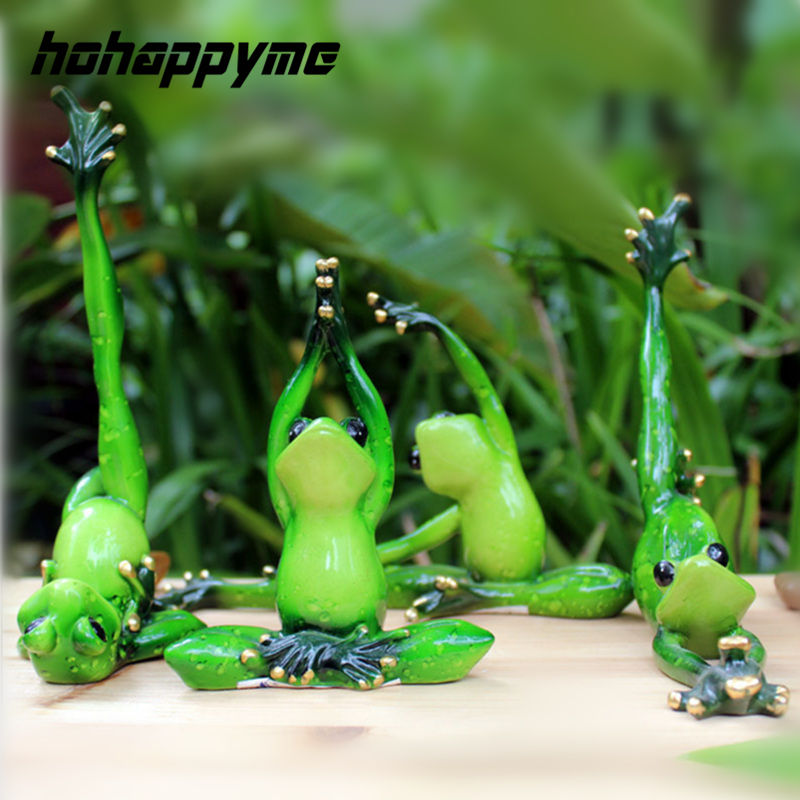 Kawaii De Yoga Grenouilles Figurine Fille de Rêve Moderne Maison De Résine Sculpture Poupées Résine Modèle Étrange Cadeaux Artisanat Animaux Décoration de La Maison