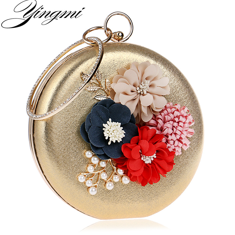 Spring Design Flower Lady Evening Bags Leaf Metal Round Shaped Women Evening Bags Day Clutches Purse Diamonds Chain Shoulder Bag