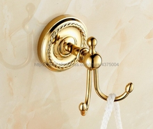 Luxury Gold Brass Coat Hook Bathroom Hardware Wall Mounted Hanging Nba606
