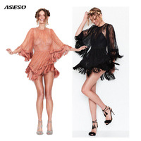 2017 Advanced Customiza Women Love Sexy Lemons Black Lace Tassels Dresses Holiday Party Mini Dresses Sexy