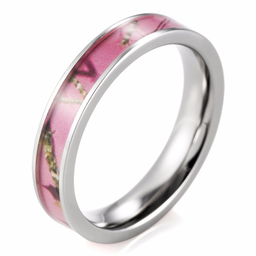 4mm womens ring pink mossy oak breakup camo titanium ring lover rings anel anillos engagement wedding - Mossy Oak Wedding Rings