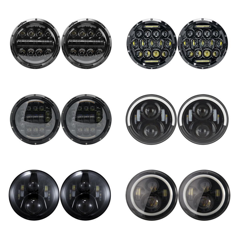 7inch Round LED Headlight Angle Eyes Headlamp for <font><b>Lada</b></font> Niva 4x4 suzuki Samurai Hummer H1H2 Projection Headlight for VAZ <font><b>2101</b></font> image