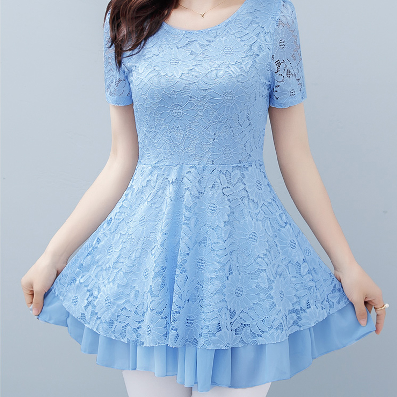 2019 Vintage Summer   blouse     shirt   Women short sleeve Sexy Hollow Out Lace Female Casual Short Sleeve Ball Gown Party tops 815E