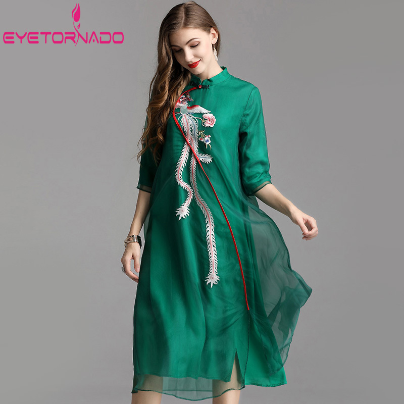 Oriental ethnique Robe Phoenix broderie longue Vintage Robe robes Style chinois 3/4 manches décontracté Cheongsam Midi robes Qipao