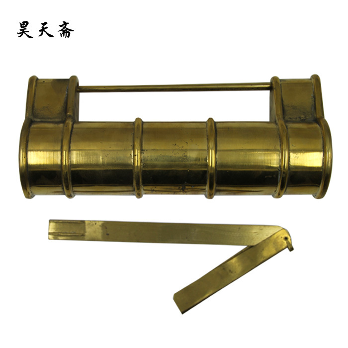 [Haotian vegetarian] antique copper lock / bronze Chinese antique brass lock bamboo Tongsuo HTH-1333 [haotian vegetarian] antique chinese brass coat detachable door hinge hinge small 9cm