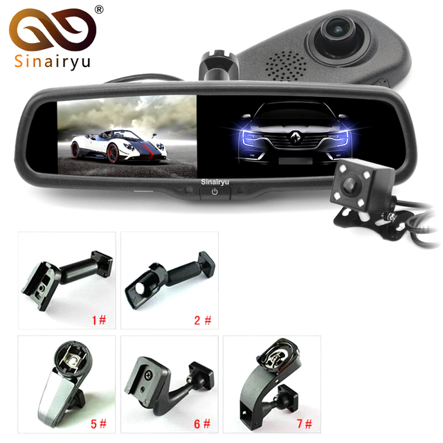 "Sinairyu Car DVR Camera HD 1080P 800*480 5"" TFT LCD Auto Dimming Car Bracket Rearview Parking Mirror Monitor Video Recorder DVR"