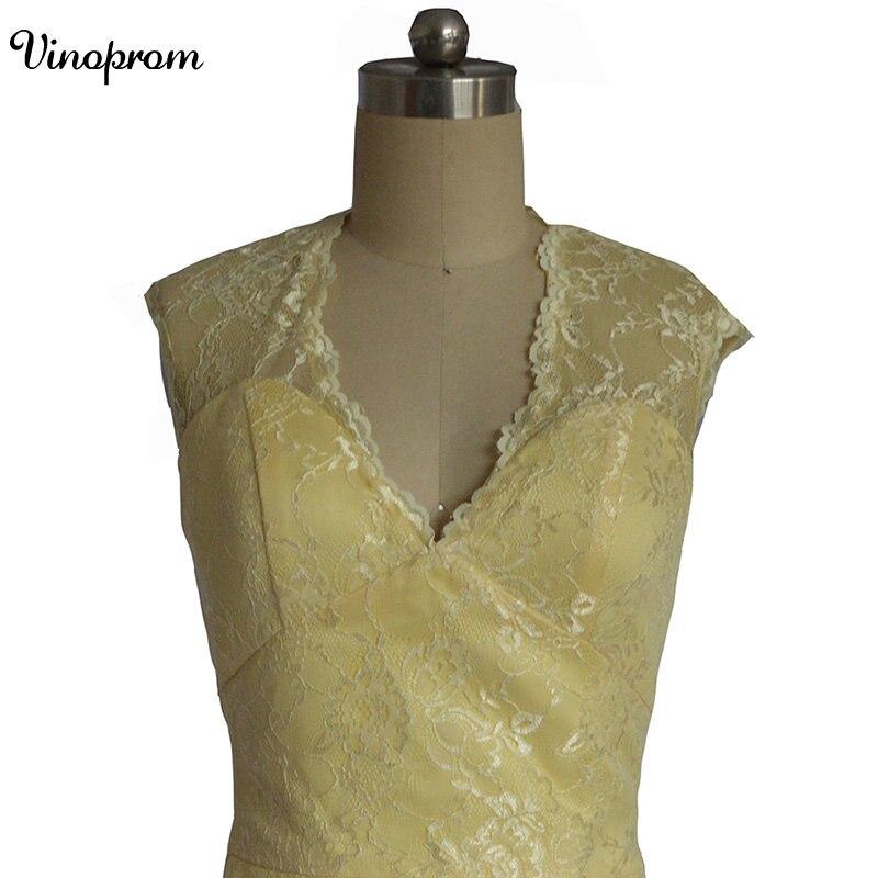Style de pays 2017 date jaune dentelle courte robes de demoiselle d'honneur pour les mariages pas cher bijou dos nu genou longueur décontracté - 2