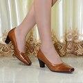 Bombas de las mujeres zapatos de cuero genuinos zapatos de tacón alto de las mujeres zapatos de vestir para señoras de la oficina de cuero puro zapatos de tallas grandes 9103-5