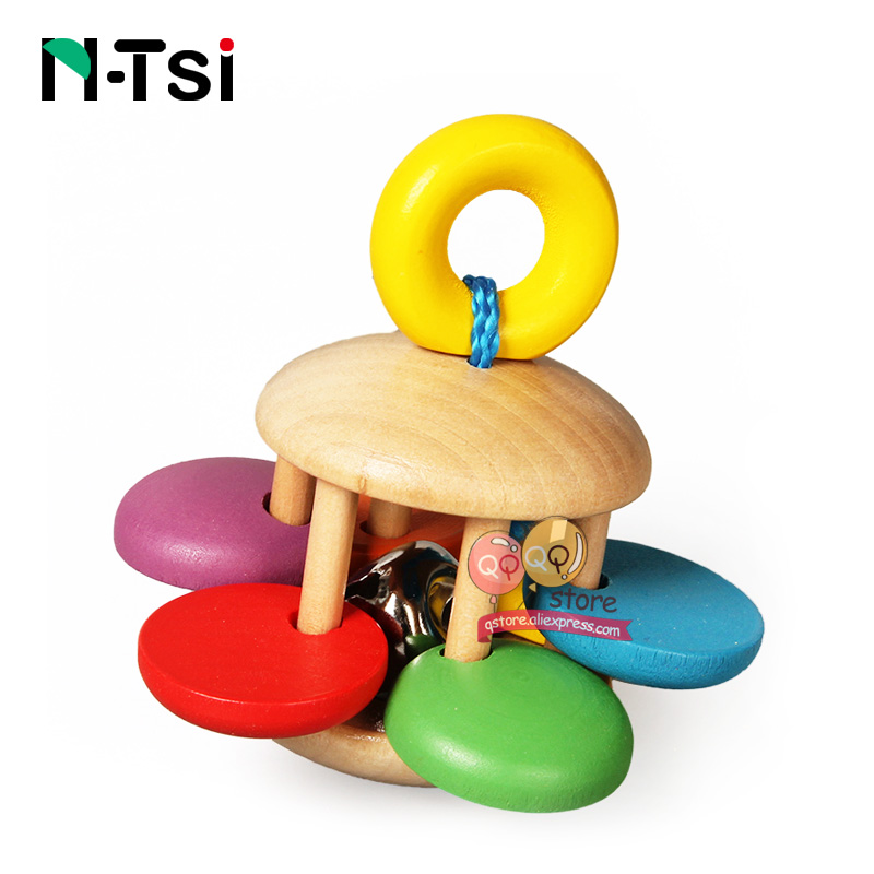 Image 2 - N Tsi Wooden Baby Rattles Grasp Play Game Teething Infant Early Musical Educational Toys for Children Newborn 0 12 months Gift-in Baby Rattles & Mobiles from Toys & Hobbies