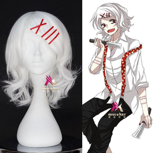 Tokyo Ghoul Juzo Suzuya Juuzou Pure White Heat Resistant Wig + 5 Red Hairpins