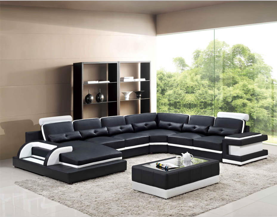 Big Living Room Sofas Modern Corner Leather Sofa Set U 6122