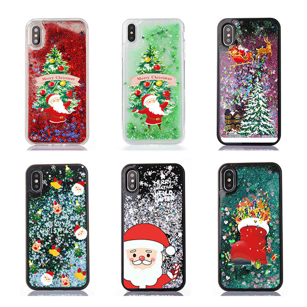 Christmas Iphone X Case.For Iphone X Case Christmas Man Gift Cartoon Deer Bling Glitter Liquid Quicksand Back Cover For Iphone Xs 6s 7 8 Plus Soft Case