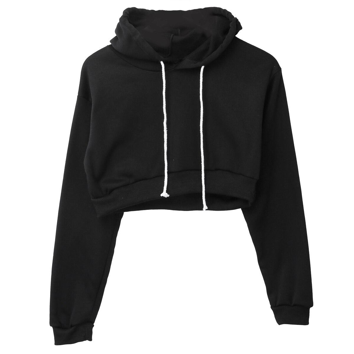 Cropped Hoodies Sweatshirt Women 2019 Summer Casual Fitness Solid Color Full Long Sleeve Hoodie Black Plain Crop Top