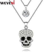 WEVENI Catena Strass Collana Del Collare Del Pendente Dichiarazione Punk Del Cranio di Halloween del Regalo Dei Monili Per Le Donne Fashion Girl Accessori(China)