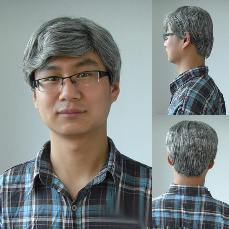 Cool Old Men S Natural Straight Short Hair Grey Mix Costume Anime