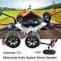 12 V Universal Motocicleta Sistema de Áudio Speaker com FM Cartão Radio/TF Slot/Porta Mini USB/AUX-IN/Flash de Luz/Controle Remoto