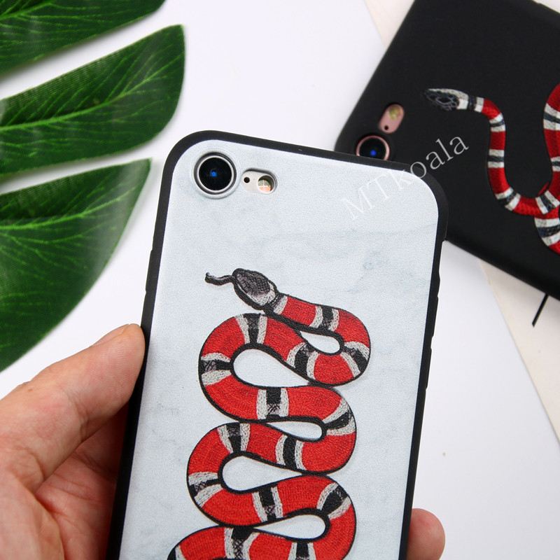 MTkoala Phone Case For iphone 6 6S 7 8 Plus Fashion Tiger Snake Pattern TPU Matte Cases For iphone X Phone Soft Shell Cover Capa