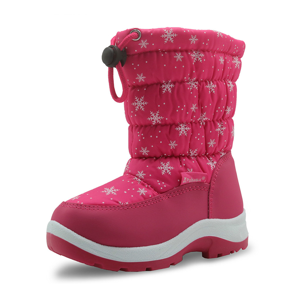 Girl Boots Winter Waterproof Girls Snow Boots Mid Calf Children Shoes Flat Warm Plush Winter Boots for Girls with Wollen Lining