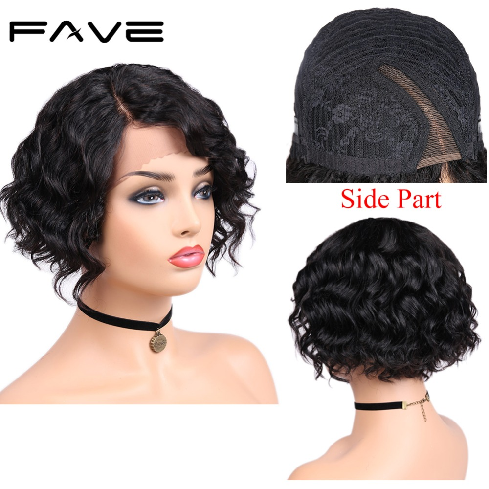 FAVE Lace Part Short Natural Wave Human Hair Wigs 8 Inches Brazilian Human Remy L Part Wig Pre Plucked Natural Hairline