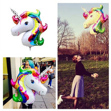 все цены на Large Unicorn foil balloons animal helium balloon globos inflatable Unicorn party birthday party decorations kids party supplies