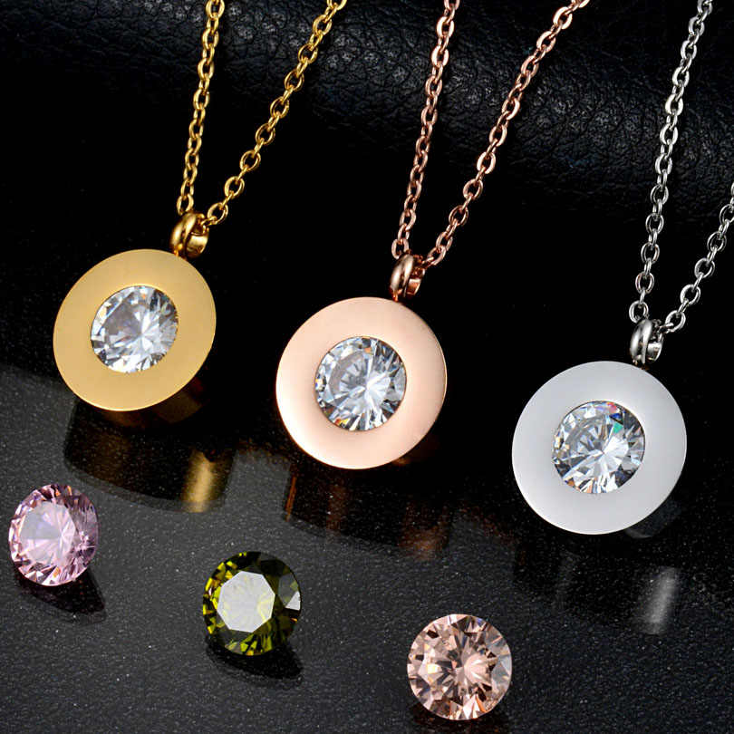 New Brand Crystal Chain Necklace Stainless Steel Jewelry Interchangeable CZ Stone Necklace for Women