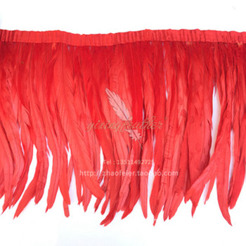 """5 yards Chicken Tail Feather red Trims Cock Tail Ribbon 30-35cm 12-14"""" Rooster Feather Trims available"""