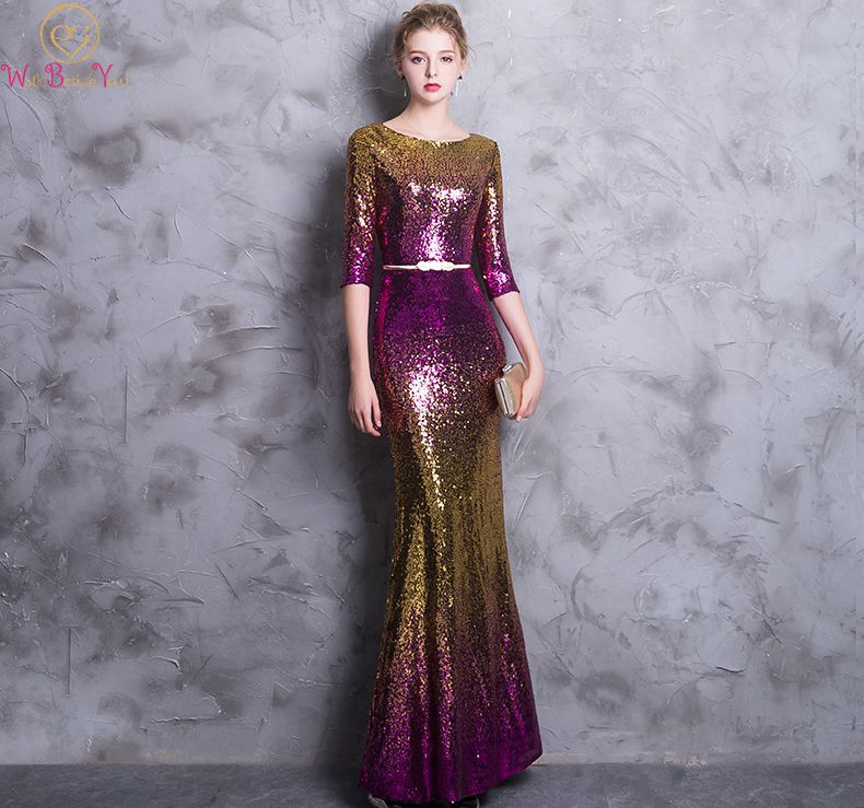 Detail Feedback Questions about Walk Beside You Dress for Wedding Party Sequined  Bling Mermaid Scoop Three Quarter Sleeves Purple gold Bridesmaid Guest ... fb8b17d37a20