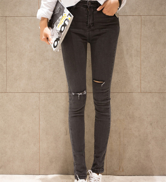 jeans pour femmes 2015 hot marque noir gris trou ripped jeans mode slim sauvage skinny pantalons. Black Bedroom Furniture Sets. Home Design Ideas