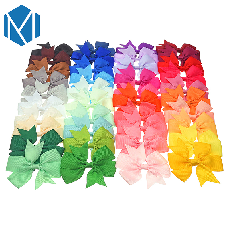 M MISM 40pcs/lot 3.3inch Solid Colorful Bow Tie Hairpins Children Girls Headwear Ribbon Bowknot Hair Clip Hair Accessories