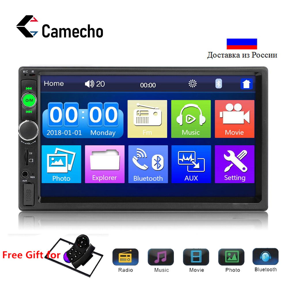 Camecho 7010B Autoradio 2 din 7 LCD Touch Screen Bluetooth car radio MP5 MP4 Player Mirror Link Stereo FM/USB/TF/AUX With Feame image